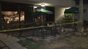The Starbucks at Coldwater Canyon and Victory Boulevard was damaged in a crash for the second time in weeks on Aug. 6, 2017. (Credit: KTLA)
