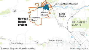 Los Angeles Times Graphics map shows the location of the Newhall Ranch project.