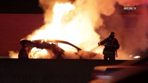 Three people were killed in a fiery crash on the 605 Freeway that was triggered by a suspected DUI driver, according to CHP. The driver was arrested on suspicion of felony DUI causing injuries and is being held on $100,000 bail, authorities say.(Credit: OnScene.TV)