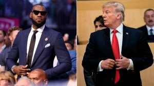 From left: LeBron James is pictured at the Mayweather-McGregor boxing match in Las Vegas Aug. 26, 2017, and President Donald Trump is shown at the UN headquarters in New York City on Sept. 18, 2017. (Credit: Christian Petersen / Brendan Smialowski / Getty Images)