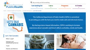 A screenshot of the California Department of Public Health's new website that aims to educate the public about marijuana.
