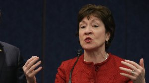 """Maine Sen. Susan Collins speaks at a news conference announcing a re-introduction of the """"The Forty Hours is Full Time Act,"""" on Jan. 7, 2015 in Washington, D.C. (Credit: Chip Somodevilla/Getty Images)"""