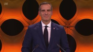 Eric Garcetti speaks during the official announcement for the host city's of the 2024 and 2028 Olympic games. (Credit: CNN)