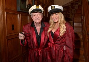 Hugh and Crystal Hefner attend the annual Halloween bash at the Playboy mansion on Oct. 25, 2014. (Credit: Charley Gallay / Getty Images for Playboy)