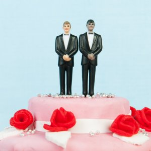 A wedding cake with a gay couple is seen in this file photo. (Credit: iStock / Getty Images Plus)
