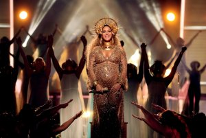Beyonce performs at the 59th Grammy Awards at the Staples Center on Feb. 12, 2017. (Credit: Christopher Polk / Getty Images)