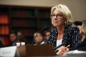 U.S. Secretary of Education Betsy DeVos testifies during a hearing before the Labor, Health and Human Services, Education and Related Agencies Subcommittee of the House Appropriations Committee May 24, 2017, on Capitol Hill. (Credit: Alex Wong / Getty Images)