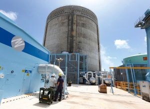 The Turkey Point Nuclear Reactor in Homestead, Florida, seen in this photo from May 18, 2017, is one of two nuclear plants shutting down ahead of Hurricane Irma. (Credit: RHONA WISE/AFP/Getty Images)
