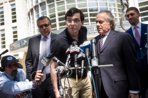 Former pharmaceutical executive Martin Shkreli speaks to the press after the jury issued a verdict in his case at the U.S. District Court for the Eastern District of New York, Aug. 4, 2017. (Credit: Drew Angerer/Getty Images)