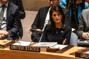 Ambassador to the UN, Nikki Haley, listens to remarks during a United Nations Security Council meeting on North Korea on September 4, 2017. (Credit: Stephanie Keith/Getty Images)