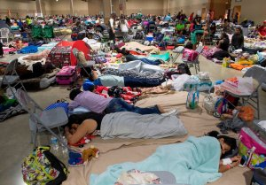 Hundreds gather in an emergency shelter at the Miami-Dade County Fair Expo Center in Miami, Florida on Sept. 8, 2017, ahead of Hurricane Irma. (Credit: Saul Loeb/AFP/Getty Images)