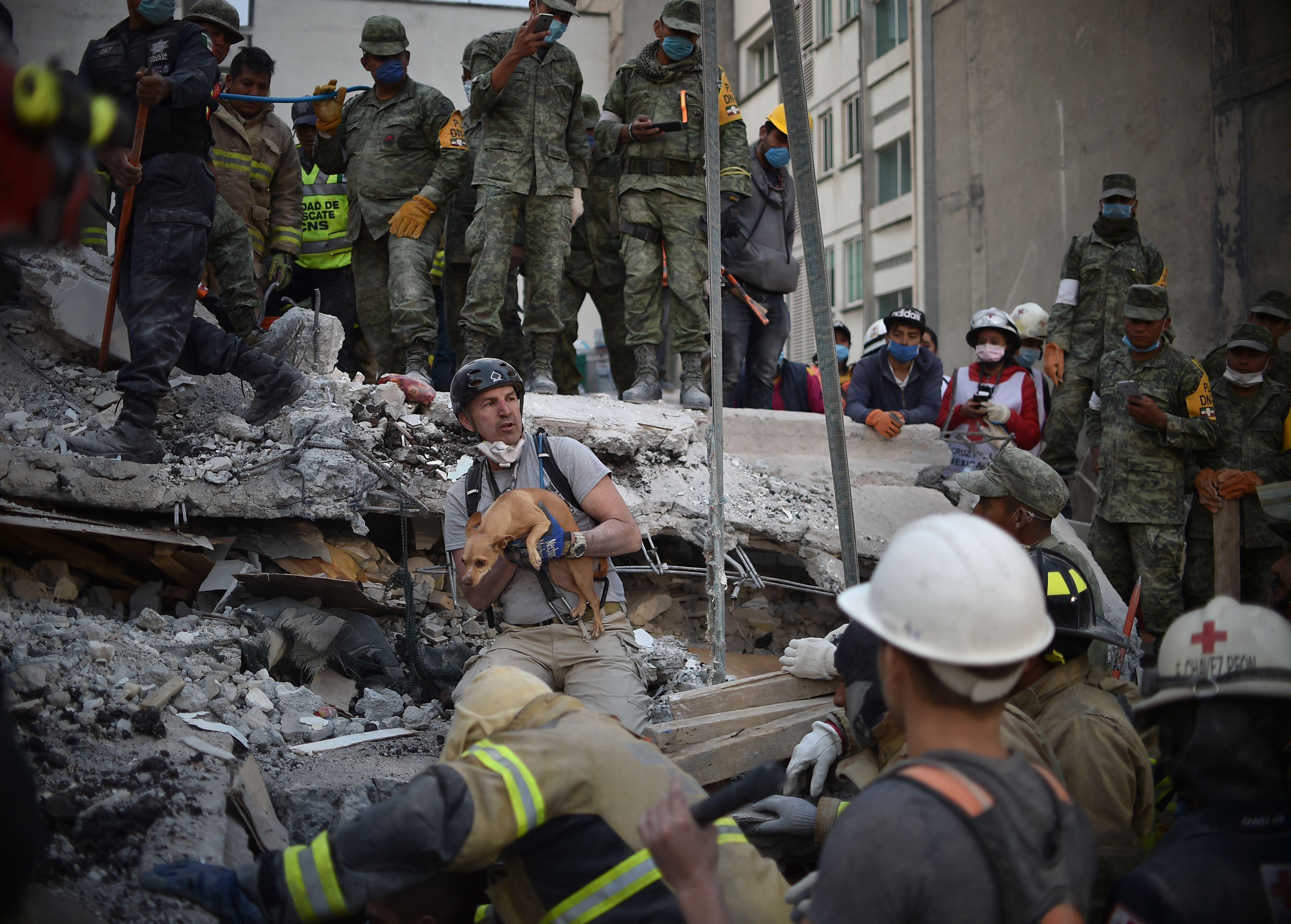 A rescuer pulls a dog out of the rubble during the search for survivors in Mexico City on Sept. 20, 2017, after a strong quake hit central Mexico. (Credit: YURI CORTEZ/AFP/Getty Images)