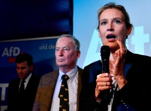 Top candidate of the Alternative for Germany Alice Weidel addresses supporters on stage during an election night event in Berlin on Sept. 24, 2017. (Credit JOHN MACDOUGALL/AFP/Getty Images)