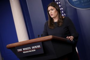 White House Press Secretary Sarah Huckabee Sanders answers questions during a briefing at the White House September 25, 2017 in Washington, DC. (Credit: Win McNamee/Getty Images)