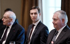 Jared Kushner (center), President Trump's adviser and son-in-law attends a working luncheon with Prime Minister Mariano Rajoy of Spain in the Cabinet Room of the White House on September 26, 2017.(Credit: Olivier Douliery-Pool/Getty Images)