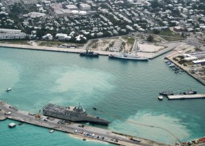 Combat ship USS Independence arrives at Naval Air Station Key West in Key West, Florida on March 29, 2010. The station is now preparing for Hurricane Irma. (Credit: Nicholas Kontodiakos/U.S. Navy via Getty Images)