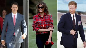 From left: Canadian Prime Minister Justin Trudeau is seen in Ottawa in August 2017, First Lady Melania Trump at the White House on Sept. 22, 2017, and Britain's Prince Harry in London in July 2017. (Credit: Tolga Akmen / Win McNamee / Lars Hagberg / AFP / Getty Images)