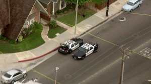 Two officers were injured responding to a man with a knife call in Huntington Beach on Sept. 7, 2017. (Credit: KTLA)