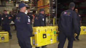 Los Angeles County Fire Department search and rescue crews prepare to deploy to Mexico if needed. (Credit: KTLA)
