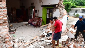 A house is severely damaged by Thursday night's 8.2-magnitude earthquake, in Juchitan, Oaxaca, Mexico, on Sept. 10, 2017. (Credit: Ronaldo Schemidt/AFP/Getty Images)