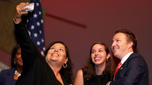 Monica Garcia, left, Kelly Gonez and Nick Melvoin are shown in July 2017, when they were sworn in. (Allen J. Schaben / Los Angeles Times)