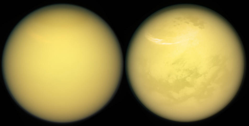 These two views of Saturn's moon Titan exemplify how NASA's Cassini spacecraft has revealed the surface of this fascinating world. (Credit: NASA)