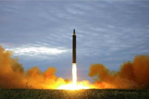 Photos appearing the show the launch of a missile which flew from North Korea over Japan on Aug 29, 2017. (Credit: Rodong Sinmum via CNN Wire)