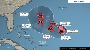 Hurricane Jose was 700 miles east of Florida at midday Tuesday, September 12, 2017, with maximum sustained winds of 75 mph, making it a Category 1 storm on the Saffir-Simpson Hurricane Scale. (Credit: CNN)