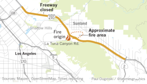 A map shows areas affected by the La Tuna Fire (Credit: LATimes Graphics)
