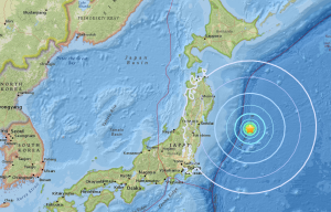 A USGS map shows an earthquake that struck off Japan on Sept. 20, 2017.