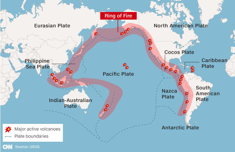 A CNN graphic shows the Pacific Ring of Fire.