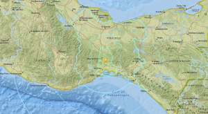 The epicenter of a 6.1 magnitude earthquake in the Mexican state of Oaxaca is seen in a map provided by the U.S. Geological Survey.