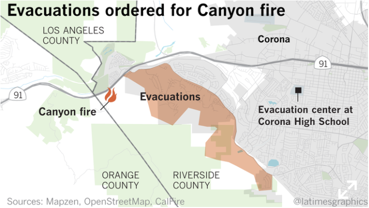 The Canyon fire's evacuation area as of about 8 p.m. Sept. 25, 2017. (Credit: Thomas Lauder / Los Angeles Times)