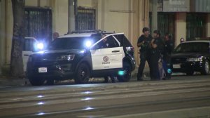Police respond to a stabbing reported in downtown Los Angeles on Sept. 13, 2017. (Credit: KTLA)