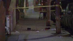 The scene where two men were attacked along Burlington Avenue in Westlake is seen the following morning, on Sept. 25, 2017. (Credit: KTLA)
