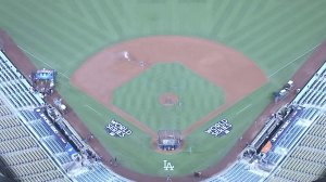 A view of Dodger Stadium on Oct. 23, 2017, the night before Game 1 of the 2017 World Series. (Credit: KTLA)