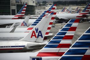 American Airlines passenger planes are seen on the tarmac at Miami International Airport in Miami, Florida, June 8, 2015. (Credit: ROBYN BECK/AFP/Getty Images)