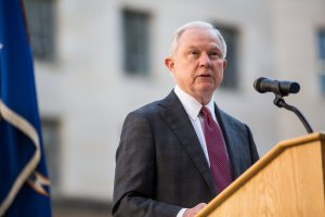 U.S. Attorney General Jeff Sessions speaks during a vigil ceremony marking the Sept. 11 terrorist attacks, at the Department of Justice on Sept. 11, 2017, in Washington, DC. (Credit: Zach Gibson/Getty Images)