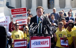 Former California Gov. Arnold Schwarzenegger speaks outside of the U.S. Supreme Court to call for an end to partisan gerrymandering on Oct. 3, 2017. (Credit: Olivier Douliery/Getty Images)