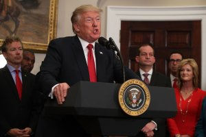 U.S. President Donald Trump speaks after signing an executive order in the Roosevelt Room of the White House, Oct. 12, 2017. (Credit: Alex Wong / Getty Images)