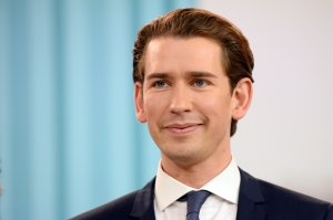 Sebastian Kurz, Austrian Foreign Minister and leader of the conservative Austrian People's Party speaks at the party's election event after initial results came in that give the party a first place finish and 31,6% of the vote in Austrian parliamentary elections on October 15, 2017 in Vienna. (Credit: Thomas Kronsteiner/Getty Images)