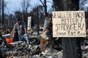 A resident takes pause while searching through debris at his burned home in Santa Rosa on Oct. 20, 2017. (Credit: Josh Edelson / AFP / Getty Images)