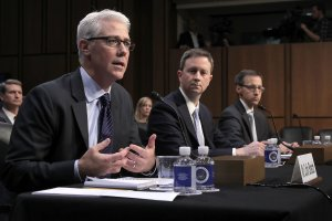 From left: Facebook General Counsel Colin Stretch, Twitter Acting General Counsel Sean Edgett, and Google Law Enforcement and Information Security Director Richard Salgado testify before a Senate Judiciary Subcommittee on Capitol Hill, Oct. 31, 2017. (Credit: Chip Somodevilla / Getty Images)