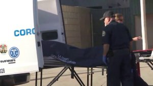 Coroner's officials are seen removing a deceased body from an apartment building in Hollywood on Oct. 1, 2017. (Credit: KTLA)
