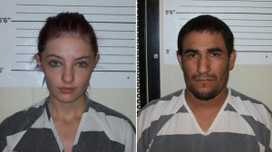 Cheyanne Harris, left, and Zachary Koehn are seen in booking photos released by the Chickasaw County Sheriff's Office.