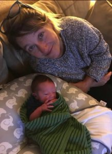 Beth Clay and her newborn son Liam are seen in this photo provided by the family to KTLA.