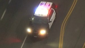 Authorities were in pursuit of a stolen sheriff's department vehicle in San Fernando Valley on Oct. 31, 2017. (Credit: KTLA)