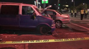 Police investigate a crash following a pursuit in North Hollywood on Oct. 4, 2017. (Credit: KTLA)