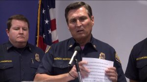 OCFA Fire Chief Patrick McIntosh is shown speaking during a press conference on Oct. 25, 2017. (Credit: KTLA)