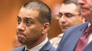 Los Angeles Unified school board member Ref Rodriguez, left, appears in court in September, 2017. (Credit: Brian van der Brug / Los Angeles Times)